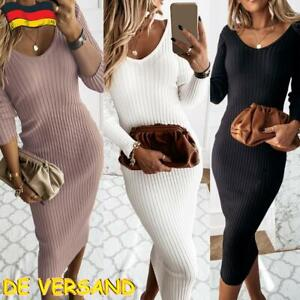 Sexy Damen Pulloverkleid Strickkleid Pullikleid Bodycon Midikleid Strickpullover