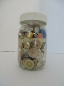 Pint Size Jar of Vintage Buttons - Some Still On The Card