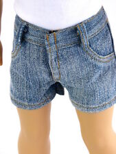 "Blue Jean Shorts with Brown Stitching Fits 18"" American Girl or Boy Doll Clothes"