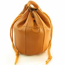 Sheep Napa Authentic Leather Pipe Tobacco Pouch  Drawstring Snap Bag Tan Brown