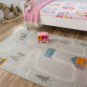 Kids Childrens Gray Village Car Buses Trees Interactive Playroom Bedroom Rug NEW