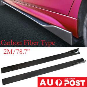 2M ABS Carbon Fiber Look Side Skirt Body Kit Rocker Panel Extension Universal BK