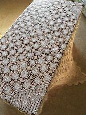 True Vintage Hand Crocheted 127cm Ecru Cotton Square TableCloth Crochet Table