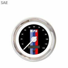 Speedo Gauge SAE Vintage Autobahn Black, White Modern Needles, Chrome Rings