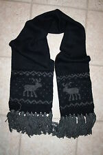 NWT Abercrombie & Fitch Flagship Womens Navy Grey Moose Classic Knit Scarf