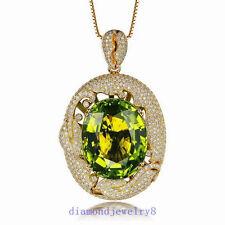 SOLID 14Kt YELLOW GOLD NATURAL FLAWLESS GREEN PERIDOT DIAMOND WEDDING PENDANT