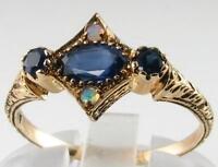 DAINTY 9K 9CT GOLD BLUE SAPPHIRE & FIERY OPAL ART DECO INS RING FREE RESIZE