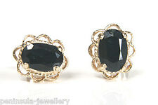 9ct Gold Sapphire Oval Studs Earrings Gift boxed Made in UK