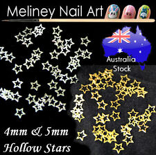 Hollow Stars Metal Slices Nail Art craft DIY decal decoration silver gold