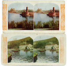 Two French Hand Colored Stereo Views