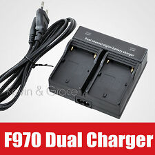 Dual Channel Digital Battery Charger Adapter For Sony NP-F950 F960 NP-FH50 FV100