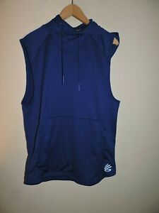 Under Armour UA Stephen Curry Men's Large Sleeveless Royal Blue Hoodie