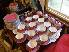 c1930-2 BAKER CO Ltd. ENGLISH PINK GREEN 89 PC TEA SET FOR THE NE STEAMSHIP CO.