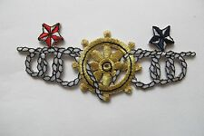 #3728 Marine,Nautical Gold Wheel,Rope,Star Embroidery Iron On Applique Patch
