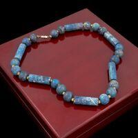 Antique Vintage Art Deco Base Metal Sodalite HEAVY Beaded Bead Necklace 96.9g