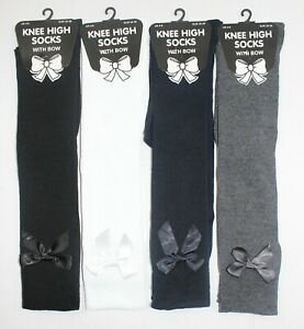 Ladies Womens Black Grey Navy White Knee High Socks With Bow Sock Lot Size 4-6