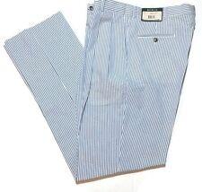 Berle Seersucker Golf Pants 35 x 37 Blue Striped Pleated Unhemmed Cruise USA