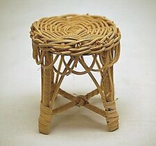 Old Vintage Rustic Wicker End Table Living Room Doll Teddy Bear Rattan Furniture