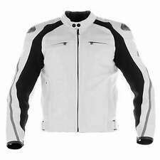 Mens Sports Biker Black White Motorcycle Racing Leather Retro Bikers Jacket