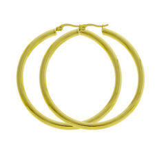 Women 4mm 14K Gold Filled Large Round BIG THICK Hoop Earrings Click Top 40-80mm