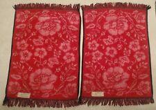 2 Vintage Martex Black Red Pink Flowers Floral Fringe Hand Towel Towels Lot