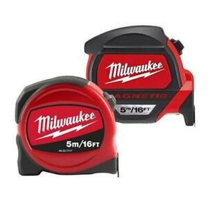 MILWAUKEE TWIN PACK TAPE MEASURE 5M/16FT SLIM & PRM MAGNETIC  4932471127 (02)