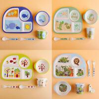 5Pcs Dinner Kids Baby Dinnerware Plates Set Eco-Friendly Bamboo Fiber Tableware