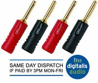 4 QED Screwloc Forte Gold Plated 4mm Banana Plugs for Speakers and Amplifiers