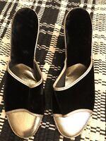 Merry Mules Vintage Black Velvet & Gold Wedge House Slippers Size 8.5 Narrow New