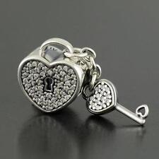 Authentic PANDORA Bead  Lock Of Love Heart Key #791429CZ Dangle Charm