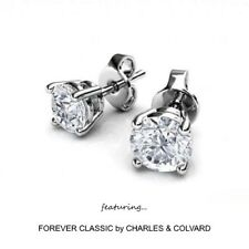 1.00 Carat Moissanite Stud Earrings in 14k Gold (Charles & Colvard)