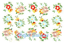 Ceramic Decals Flower Floral Bits 3 Designs Pink Blue Red Yellow 1/2 inch