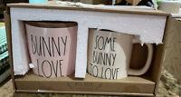 Rae Dunn - Pink BUNNY LOVE Canister & White SOME BUNNY TO LOVE Coffee Mug Set