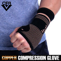 Copper Wrist Brace Support Compression Sleeves Arthritis For Carpal Tunnel Hand