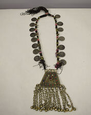 Middle Eastern Silver Kuchi Coin Red Blue Glass Belly Dancing Dangle Necklace
