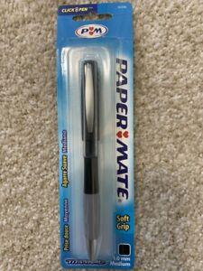 Papermate 63246 Rare Titanium Pen Black Barrel, Black Ink 1.0mm Click Pen