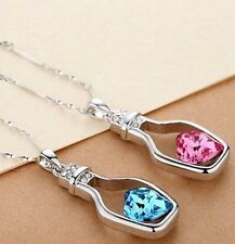 Look For Love Drift Bottle Crystal Heart Clavicle Chain Pendant Necklace Jewelry