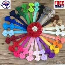 "21 Colors 2.5"" Baby Ribbon Bows Headband Toddler Girls Hairband Christening"