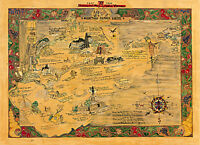 Pictorial Historical Map of West Virginia 1607-1930 Mid-century Wall Art Poster
