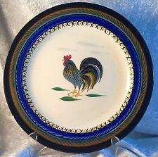 2 Henriot Quimper Dinner Plate Dish Chicken Rooster Blue Rim Dinnerware Antique