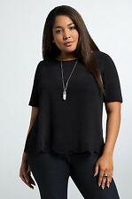 NWT Torrid Womens Crepe Laser Cut Black Blouse Plus Size 3 3X SS10
