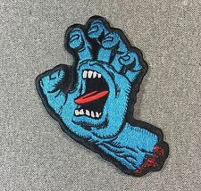Santa Cruz Screaming Hand Blue Skateboard Patch 4.2in Adhesive Iron on Patch