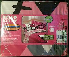 Hello Kitty I Heart Nerds Pink Plaid Twin Sheet Set