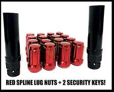 "23 RED JEEP LUG NUTS 6 SPLINE TUNER | 1/2""-20 | CLOSED END |+2 KEYS 5X5"