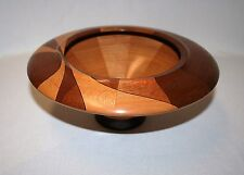 TURNED WOOD BOWL - SYCAMORE & MAHOGANY - CRAFTED BY MIKE KELLEY