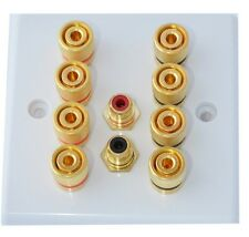 Slimline White 4.2 Speaker Wall Plate Gold 8 Binding Posts + 2 RCA's