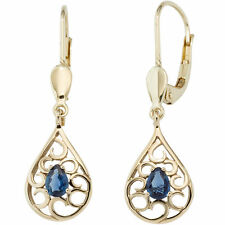 NEU Damen Edelstein Ohrhänger Ohrringe 585er 14 Karat Gold Gelbgold 585er blau