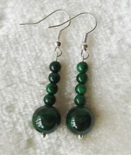 4-10mm dunkel grüne Jade Ohrringe