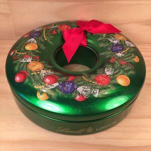 "LINDT ""Christmas Wreath"" Beautiful Green Festive Keepsake Tin Metal Lolly Box"