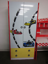 CHILDRENS RACING CAR MOTIF WARDROBE WITH 2 DRAWERS